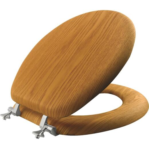 Mayfair Natural Reflections Round Closed Front Oak Veneer Toilet Seat