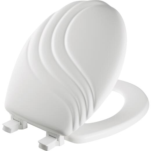 Mayfair Round Closed Front Designer Sculptured Swirl White Wood Toilet Seat