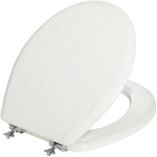 Mayfair Round Closed Front White Cottage Wood Toilet Seat