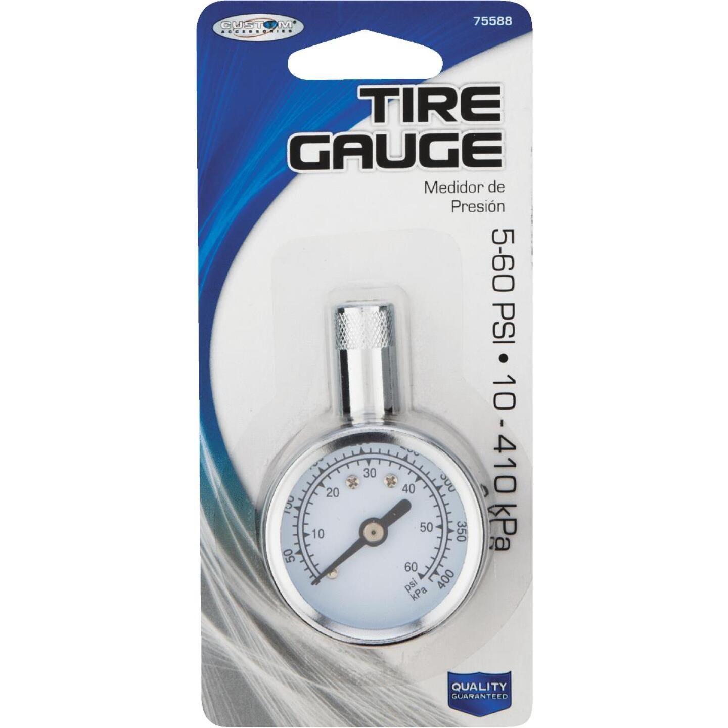 Custom Accessories 5-60 Psi Chrome-plated Tire Gauge Image 2